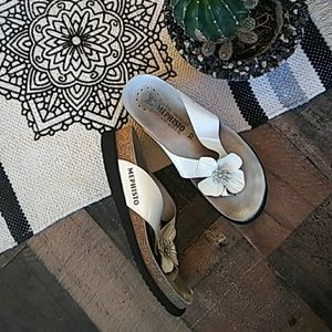 White Flower Mephisto Sandals